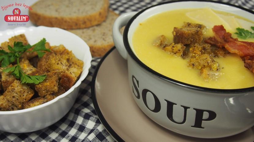 pórová polievka a cesnakové krutóny bez lepku